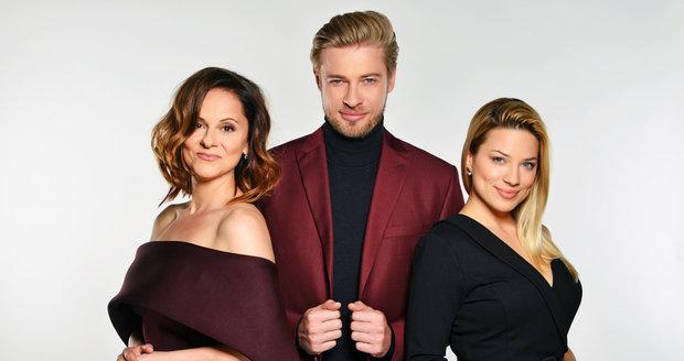 Moderátoři pořadu Showtime Laďka Něrgešová, Petr Větrovský a Eva Perkausová