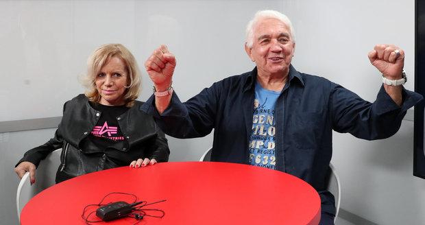 Jiří Krampol s manželkou ve Studiu Blesk