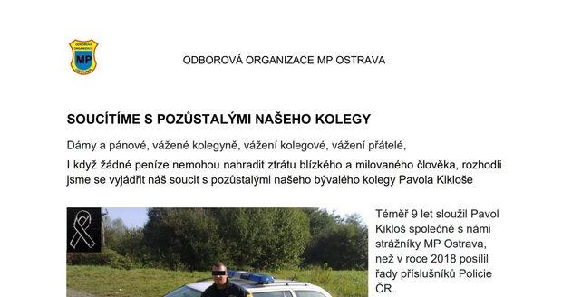 Kolegové strážníci vypsali sbírku pro pozůstalé po zabitém policistovi Pavlu K. (†31).