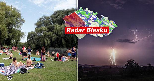 Teploty v Česku se vyšvihly na 35 °C. Tropy od pondělí doplní i silné bouřky, sledujte radar Blesku