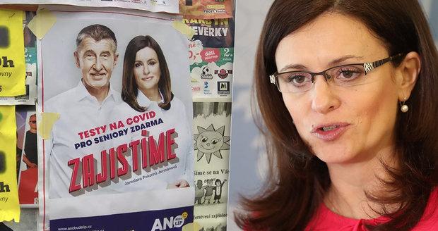 """""""Vyžehlená"""" Jermanová slibuje na plakátu s Babišem seniorům testy zdarma. """"Nesmysl,"""" zuří premiér"""