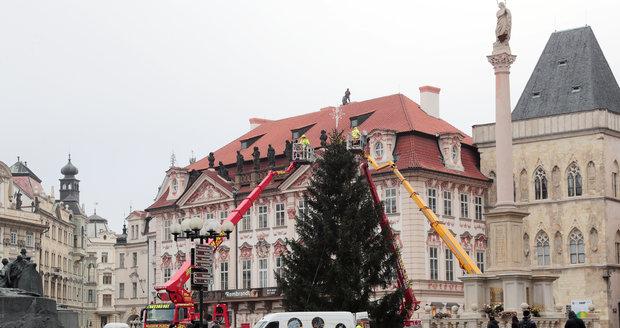 Vánoční strom na Staroměstském náměstí, 24. 11. 2020.