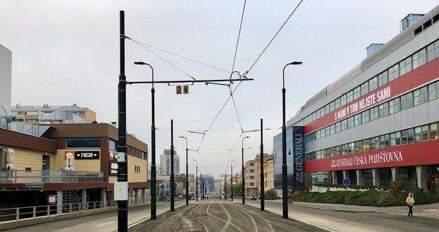 Dokončení tramvajové trati na Pankráci.