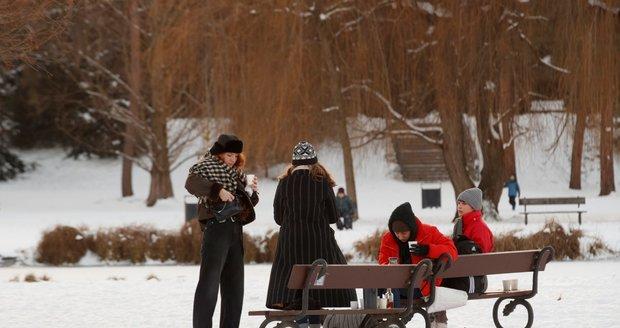 Zima v pražské Stromovce.