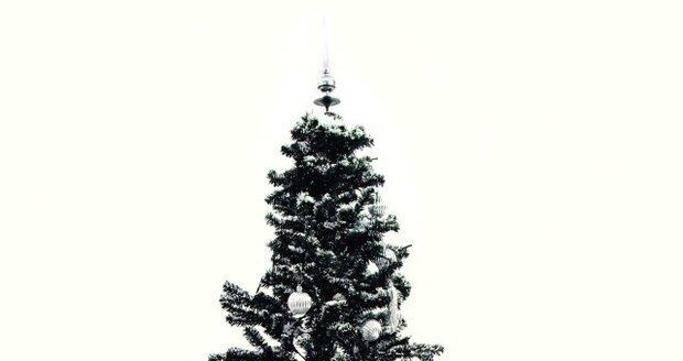 """Černý ozdobený plastový stromeček. S modrým LED řetězem, usazený v černém deštníku se stojanem vám zahraje až 25 vánočních melodií.  Navíc umí i """"padání sněhu"""", které můžete plynule regulovat."""