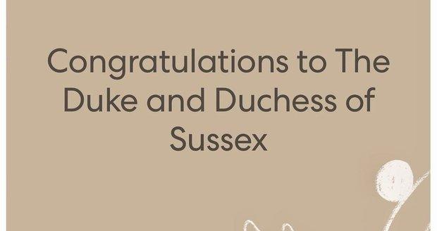 Oznámení narození dcery Harryho a Meghan