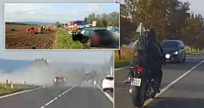 Fabie svojí nebezpečnou a bezohlednou jízdou skoro zabil 2 motorkáře.