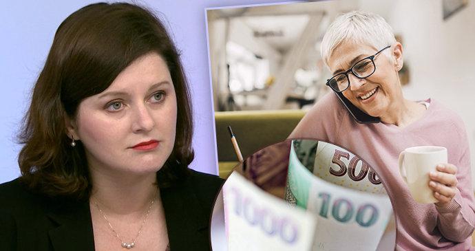 Maláčová chce pro důchodce 300 korun navíc. Průměrný důchod by se vyšvihl na 16 tisíc