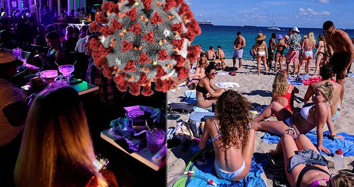 """Narvané pláže i bary a pálení roušek. Takhle """"slaví"""" pokrok v boji s koronavirem v USA"""