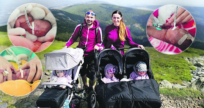 Trojčátka neměla po porodu dohromady ani dvě kila! Viktorka, Amálka a Žofinka překvapily i lékaře