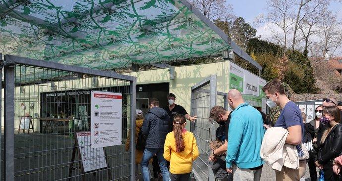 Nával v Zoo Praha i v neděli: Před vchodem se tvoří fronty. Odložte návštěvu na odpoledne, píší