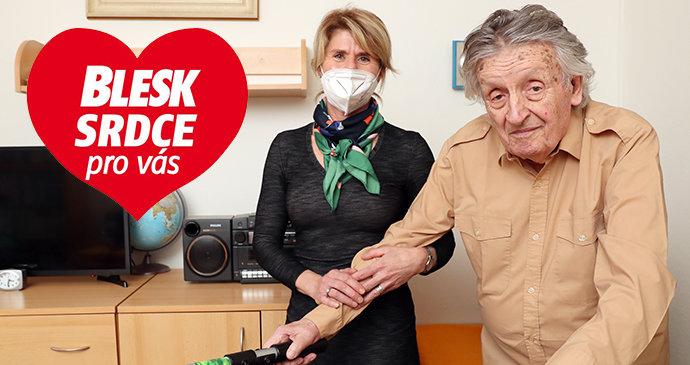 Dojemné gesto! Rudolf (91) už 14 let téměř nevychází z domova! Se samotou mu pomáhá Gabriela
