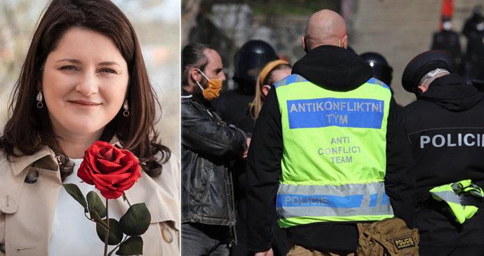 1. máj ONLINE: Maláčová slaví s růží, na komunisty čekali odpůrci. A policie vyhlíží protesty