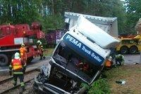 Řidič kamionu prorazil závory a najel do vlaku. Škoda je přes milion korun