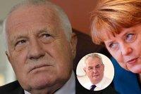 Zeman kritizoval Angelu Merkelovou. Přidal hlášku ze Čtyři vraždy stačí, drahoušku