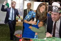 I královská rodina se umí bavit! William, Harry a Kate házeli holínkou kvůli charitě