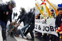 Slzný plyn, mela v Paříži: Za klima pochodovala i Kateřina Jacques s dcerou