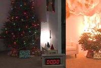 Z okna bytu v Brně vyletěl hořící vánoční stromek: Muž se při hašení popálil
