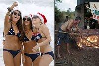 """Vánoce ve světě: Opékání prasat, """"Hunger Games"""" i rekordní vedra v Austrálii"""