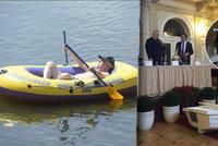 Zemana v létě na rybníku sveze Kačenka. Nástupkyni člunu už si i osahal