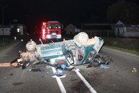 Na Hodonínsku zemřel po nehodě mladý řidič: Auto skončilo rozšrotované na střeše