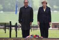 Merkelová a Hollande u Verdunu: Po sto letech uctili památku padlých vojáků