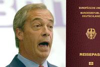 Fanoušek brexitu chce německý pas? Farage čekal ve frontě u německé ambasády