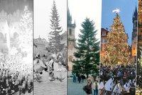 Jak šel čas s vánočním stromem na Staroměstském náměstí: Košatý, útlý, stříbrný nebo zlatý