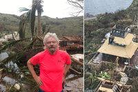 Obraz zkázy v Bransonově ráji: Trosky, metr písku v domech, palmy vyrvané z kořenů