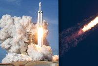 """Část rakety Falcon Heavy se zřítila do oceánu. Miliardář Musk se bál """"gigantické exploze"""""""