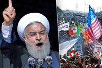 Lidé v ulicích pálí vlajky USA a Izraele. Írán slaví výročí revoluce, chystá novou?