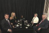 Babiš se Zemanem a manželkami večeřeli v Průhonicích. Monika ladila detaily