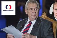 """Zemanův další útok na ČT: Chce změnu ve vedení. """"Účelové tlaky,"""" brání se televize"""