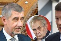 Okamura u Zemana: Oba doufají, že vláda vznikne spoluprací ANO, KSČM a SPD