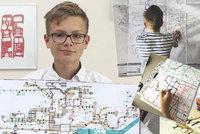 Autista Matěj (14): Malý génius kreslí mapy MHD zpaměti, pak je nechá tisknou na oblečení