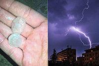 Bouřky řádí u Prostějova, Bechyně i na Plzeňsku. Padaly kroupy, sledujte radar