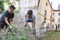 VIDEO: Kluci v akci! Stropnický s přítelem na zámku rvou břečťan. Už jsme tu byli v hospodě