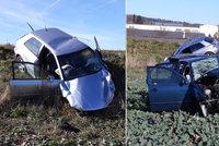 Řidič audi vyjel na Písecku do protisměru a smetl škodovku: Uvnitř zemřel řidič a spolujezdec