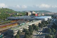 """Vlaky, autobusy, tramvaje, metro  a auta na Smíchově """"pod jednou střechou """":  Architekti představili revoluční terminál"""