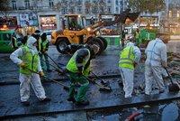 Úklid spouště po demonstrantech v Paříži zabere až tři dny. Pomáhají i bagry