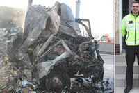 Hrdinové z D1! Policisté zachránili řidiče před jistou smrtí, vytáhli ho z hořícího kamionu