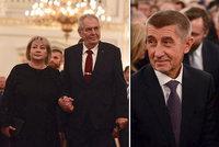 "Zemanovi i Babišovi na galavečeru: Zeman sepsul euro a vytáhl ""masového vraha"""