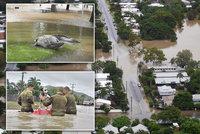 Stoletá voda zavlekla do měst hady a krokodýly. Část Austrálie zalila povodeň