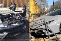 Řidič lamborghini se vytahoval před diváky: Luxusní fáro za 7,5 milionu rozflákal o zeď