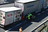 Vážná nehoda uzavřela D1 v Praze: Srazilo se nákladní auto s dodávkou, na místo letěl vrtulník