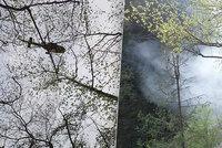 Hasiči museli slaňovat k požáru na Semilsku: Nakonec pomohl vrtulník