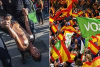 Prsa jako vzkaz. Polonahé aktivistky protestovaly proti španělské ultrapravici