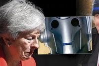 """Mayová i Boris Johnson dostávají od Britů """"čočku"""". Twitter žije vlnou karikatur"""