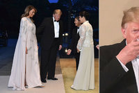 Melania v róbě za 100 tisíc na banketu u císaře. Abstinent Trump šampaňské odmítl