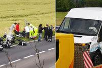 Hrůzná nehoda na Kutnohorsku: Dodávka smetla čtyři motorkáře! Jeden zemřel